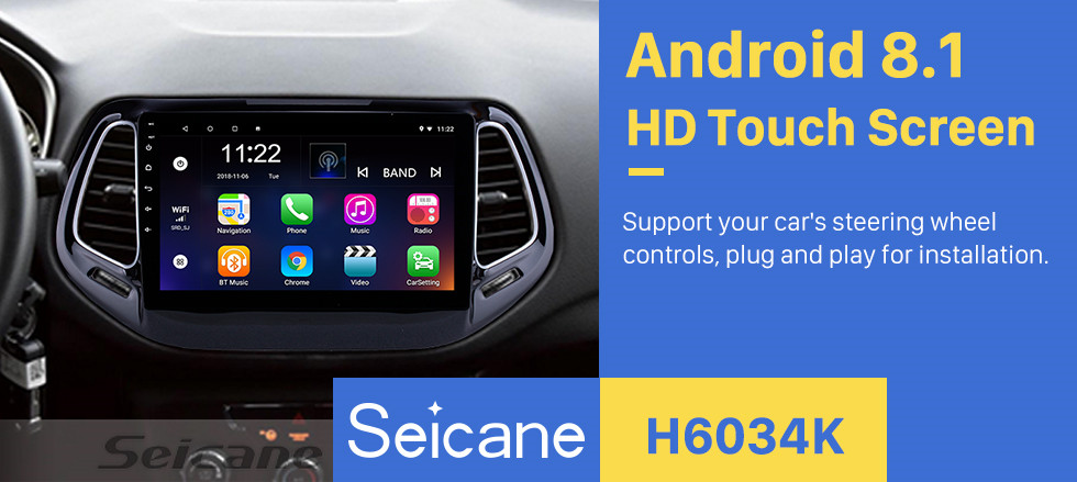 Seicane 10.1 inch HD Touchscreen 2017 Jeep Compass Android 8.1 Head Unit GPS Navigation Radio with USB Bluetooth WIFI Support DVR OBD2 Backup Camera TPMS