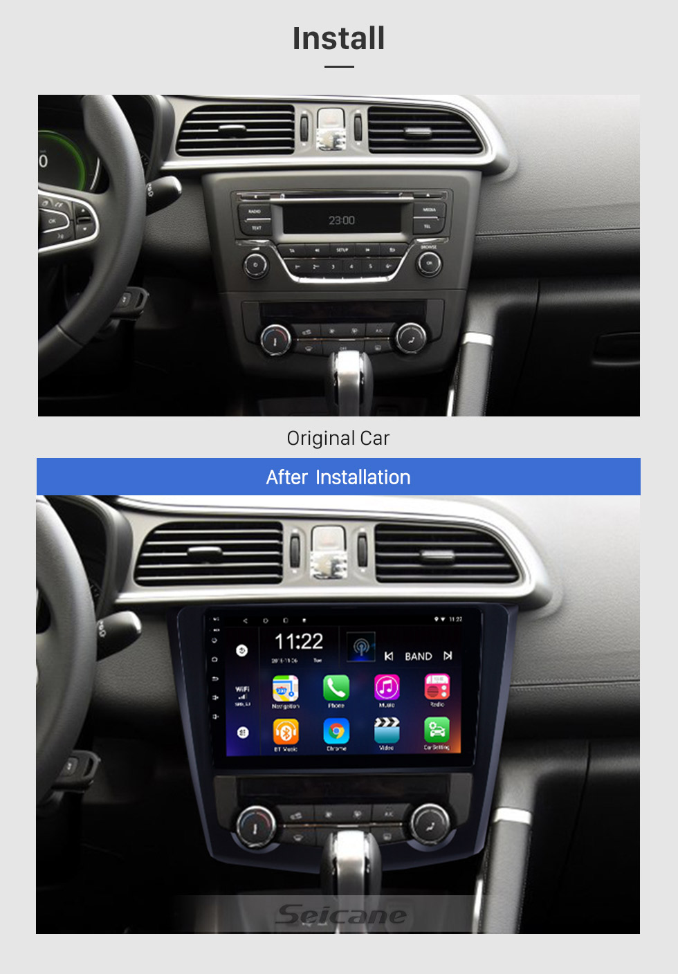 Seicane 9 inch 2016 2017 Renault Kadjar Android 8.1 HD Touchscreen Auto radio GPS Navigation Bluetooth Car Stereo TV Tuner Rearview Camera AUX IPOD MP3