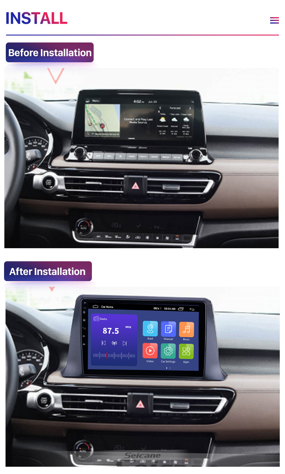 Seicane 10.1 inch Android 10.0 For Kia SELTOS Radio GPS Navigation System With HD Touchscreen Bluetooth support Carplay OBD2