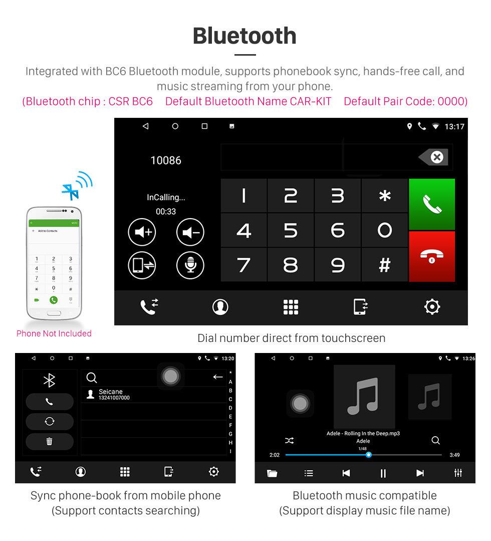 Seicane 2012 2013 2014 Geely Emgrand EC7 Android 8.1 Navigation GPS Stéréo 3G WiFi AM Radio Bluetooth Musique Miroir Lien OBD2 Caméra de vision arrière Contrôle volant