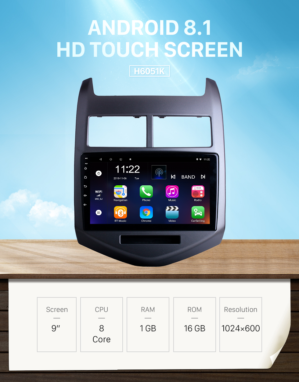 Seicane Android 8.1 Radio GPS Navigation System for 2010 2011 2012 2013 Chevy Chevrolet AVEO Bluetooth Touch Screen Radio 3G WiFi Mirror Link OBD2 Video DVR AUX Rearview Camera