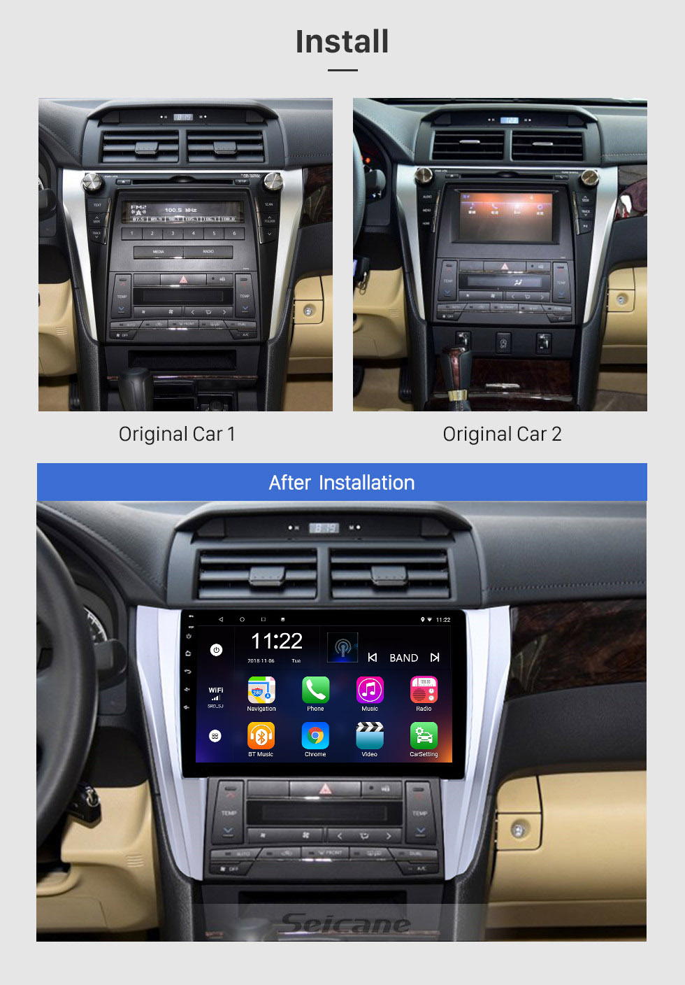 Seicane 10.1 inch Android 8.1 GPS Navigation System Radio For 2015 2016 2017 Toyota Camry Steering Wheel Control Bluetooth HD Touch Screen TV tuner Rear view