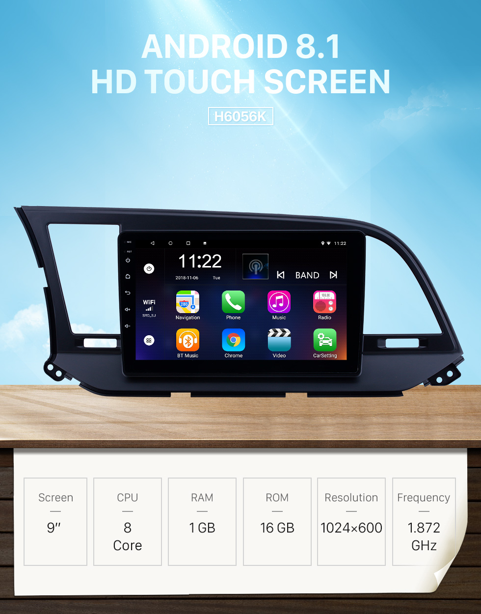 Seicane 9 inch HD Touchscreen Android 8.1 Radio GPS Navi head unit Replace for 2016 Hyundai Elantra Support USB WIFI Radio Bluetooth Mirror Link DVR OBD2 TPMS Aux