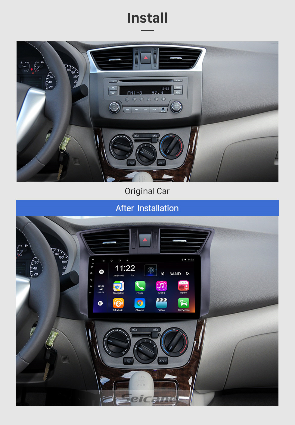 Seicane 10.1 inch 2012-2016 Nissan Sylphy Android 8.1 HD Touchscreen GPS Navi head unit Radio USB Bluetooth Support WIFI Mirror Link DVR OBD2 TPMS Aux