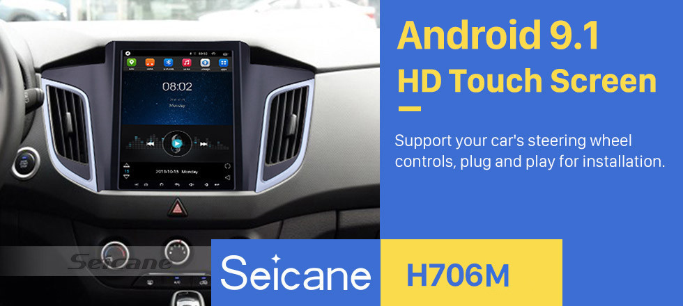Seicane 9.7 inch Android 9.1 HD Touchscreen Radio for 2014 2015 Hyundai IX25 Bluetooth GPS Navigation System Wifi music USB AUX support DVR DVD Player OBD2 SWC Rearciew Camera