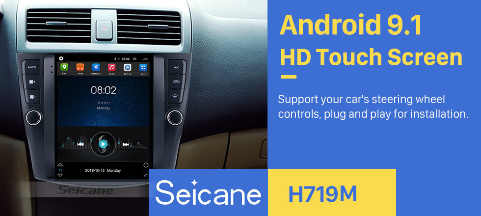 Seicane HD Touchscreen 9.7 inch Android 9.1 Aftermarket GPS Navigation Radio for 2003-2007 Honda Accord 7 with Bluetooth Phone AUX FM Steering Wheel Control support DVD 1080P Video OBD2