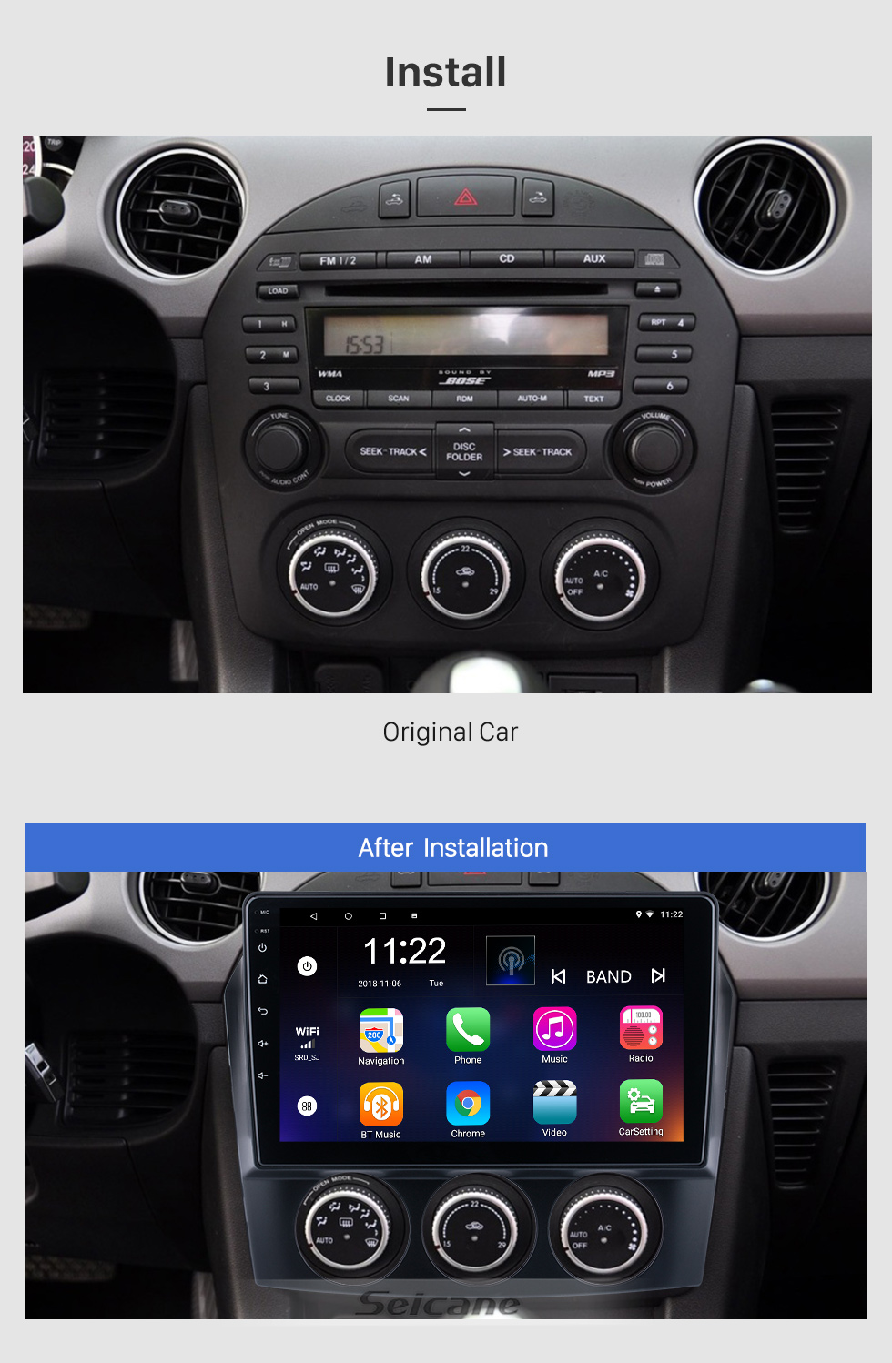 Seicane Andriod 10.0 HD Touchsreen 9 inch 2009 Mazda MX-5 GPS Navigation System with Bluetooth support Carplay