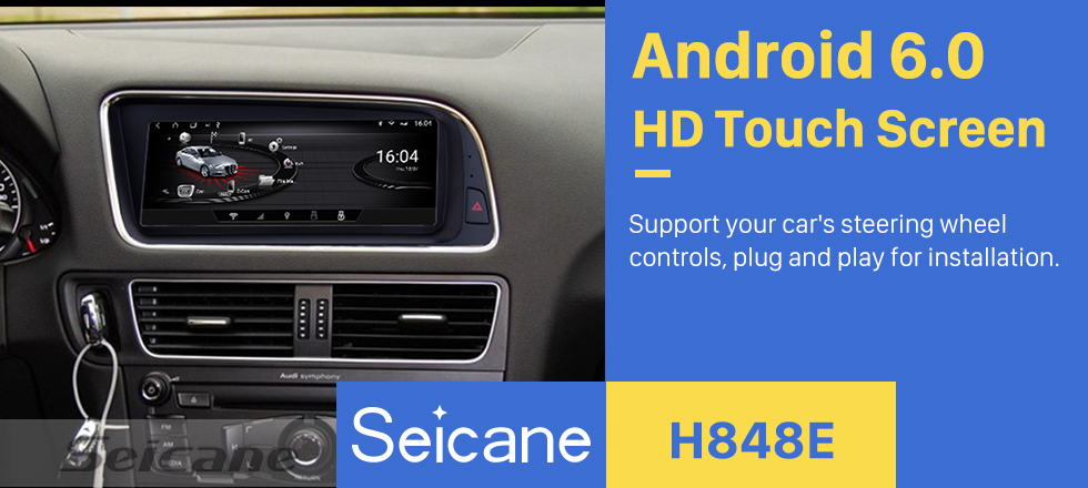 Seicane 8.8 inch Android 6.0 1280*480 Touchescreen Radio for 2009-2015 Audi Q5 LHD GPS Navigation Upgrade Stereo FM/AM Bluetooth Music Wifi Carplay USB Steering Wheel Control support DAB+