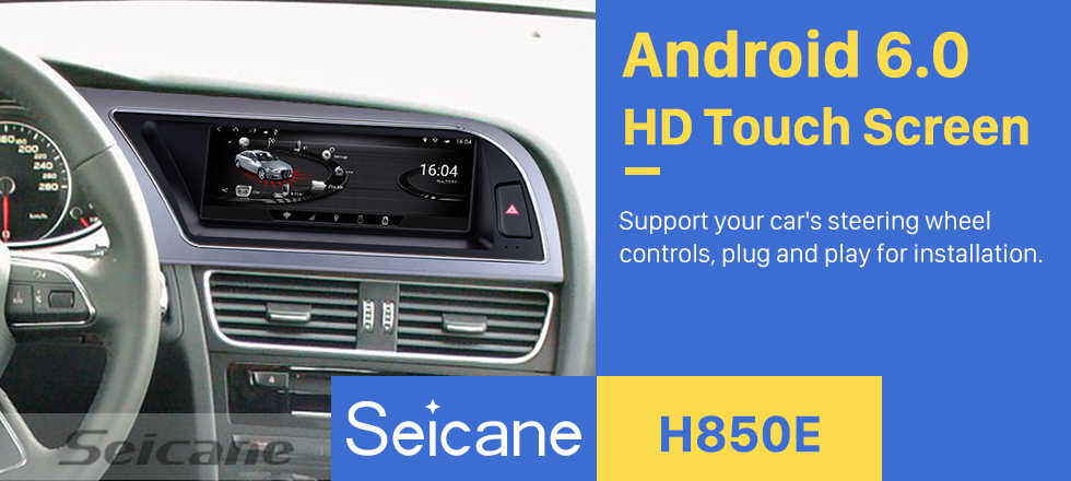 Seicane 2009 2010 2011 2012 Audi A4L 8.8 inch Android 6.0 head unit GPS navigation system Bluetooth TV DVD player Rearview Camera 1080P Steering Wheel Control