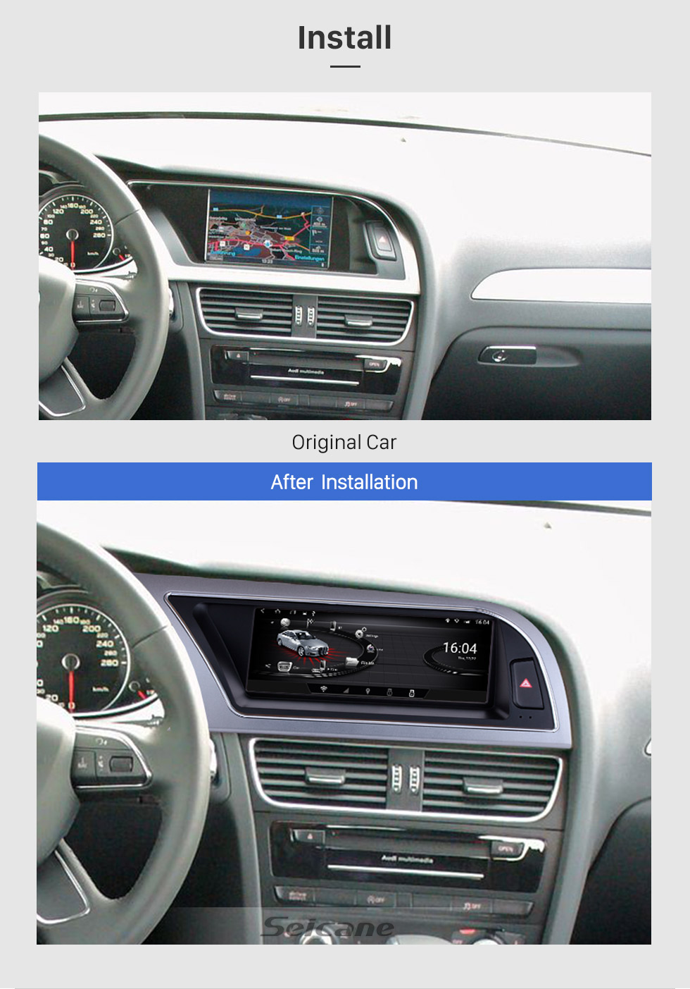 Seicane 2009 2010 2011 2012 Audi A4L 8,8-дюймовый Android 6.0 головное устройство GPS-навигатор Bluetooth TV DVD-плеер Камера заднего вида 1080P Управление рулевого колеса