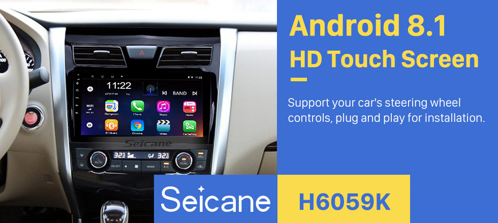 Seicane 9 Inch aftermarket Android 8.1 HD Touch Screen GPS Navigation system For 2013-2017 Nissan TEANA /Nissan Altima with USB Bluetooth Radio Support 3G WiFi DVR OBD II Rear camera Steering Wheel Control