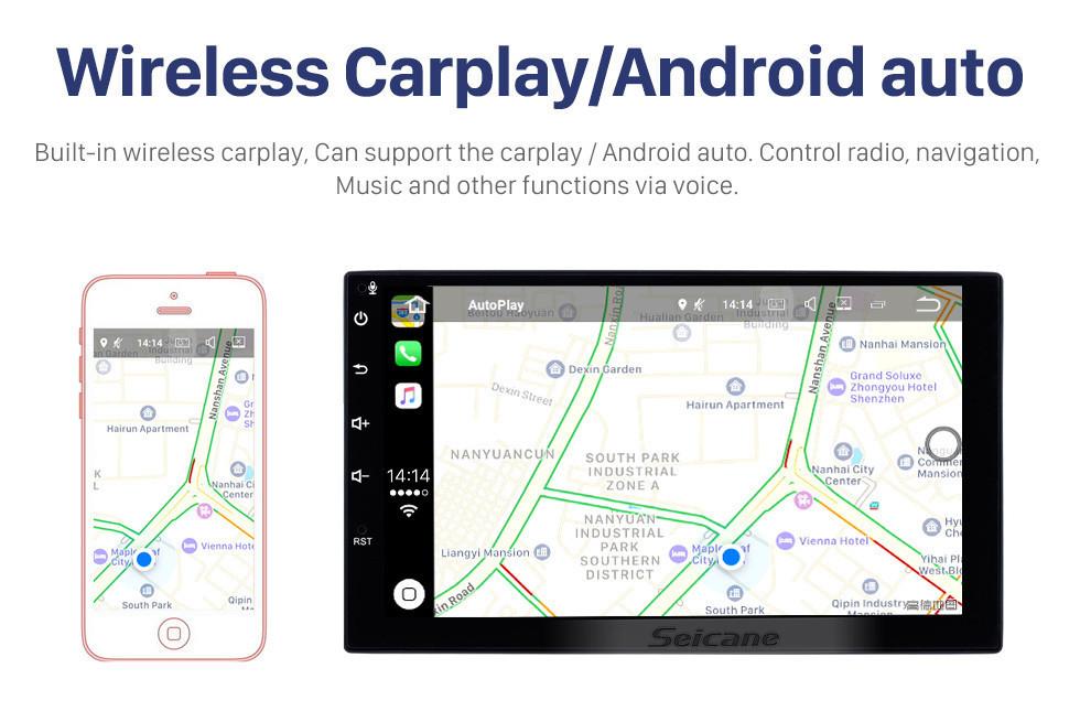 Seicane 9 polegada 1 Din Universal Android 10.0 HD 1024 * 600 Tela Sensível Ao Toque de Rádio sistema de Navegação GPS Bluetooth Música WI-FI Áudio Link de Espelho Controle de Volante