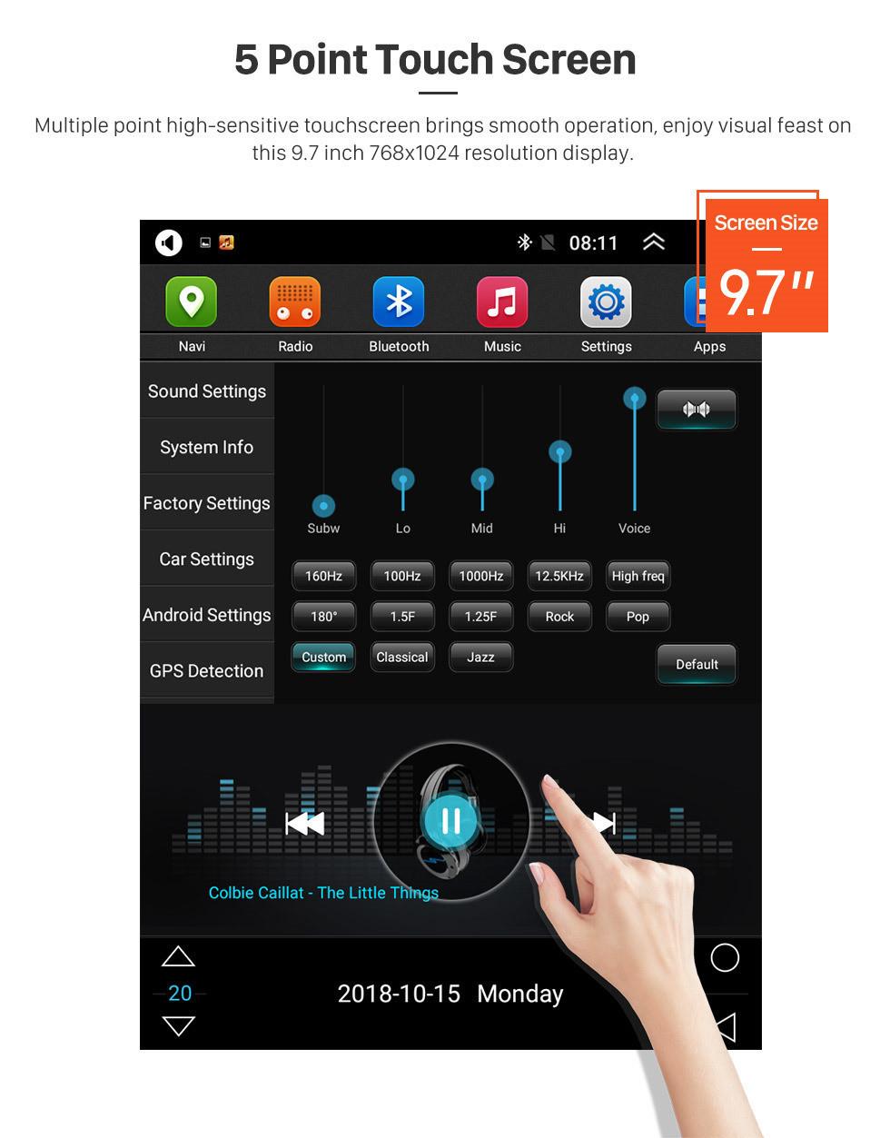 Seicane 2015 2016 2017 Hyundai Santafe IX45 9,7 polegadas HD Touchscreen Android 9.1 Rádio Navegação GPS Bluetooth FM AUX WIFI Suporte a link de espelho Retrovisor Câmera TV digital OBD2 DVD TPMS