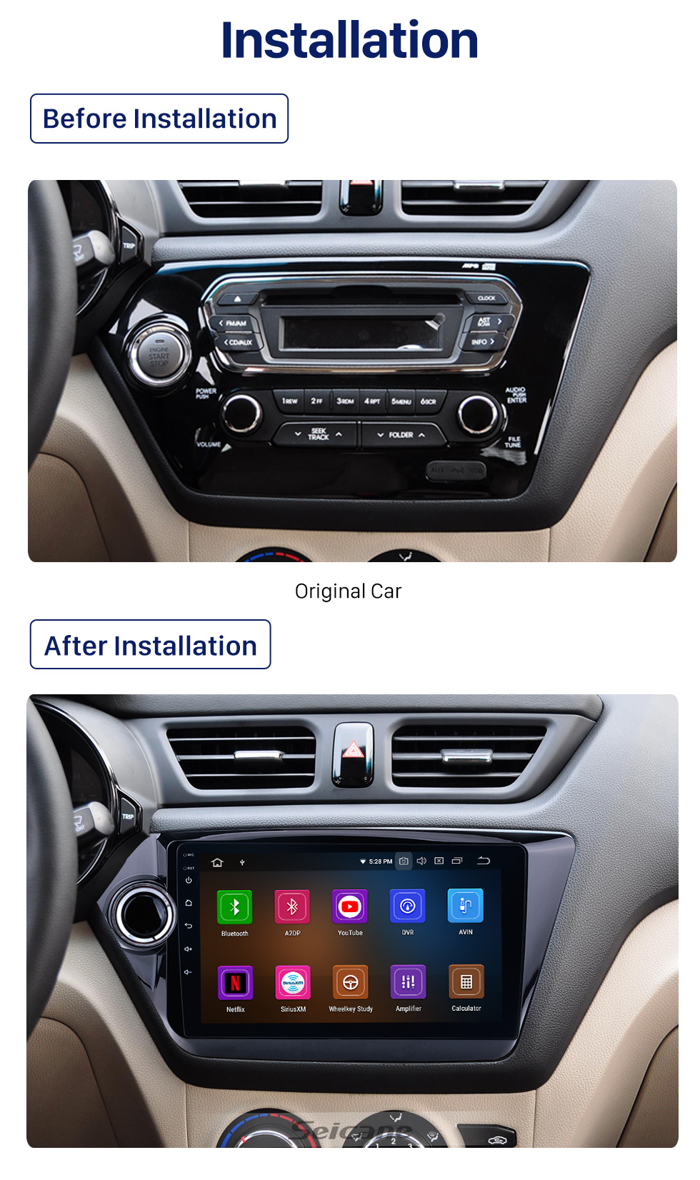 Seicane For 2011 2012 2013 2014 2015 Kia K2 RIO 9 inch Android 10.0 Car GPS Navigation System HD Touchscreen Radio AM FM Bluetooth support CD DVD Player OBD2 3G WiFi