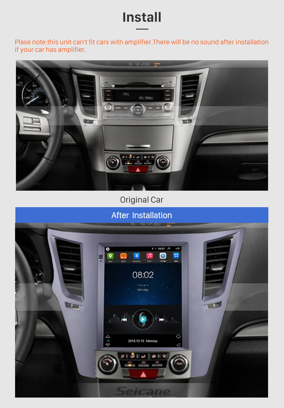 Seicane Aftermarket 9.7 inch Android 9.1 Radio for 2010-2014 Subaru Outback GPS Navigation HD Touchscreen Stereo Bluetooth USB MP4 music Mirror Link SWC 4G WIFI