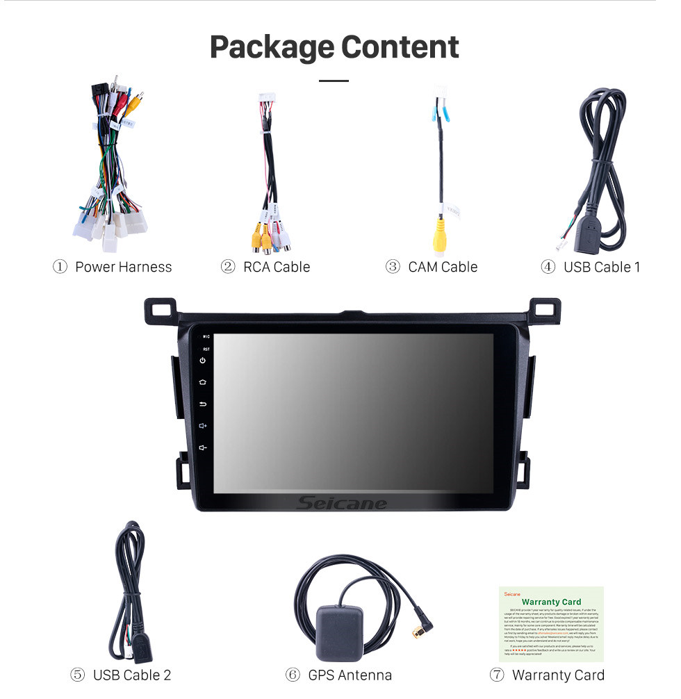 Seicane Aftermarket 9 inch 2013-2018 Toyota RAV4 Right hand driving GPS Navigation System Android 8.1 Radio Touch Screen support TPMS DVR OBD Mirror Link Bluetooth 3G WiFi