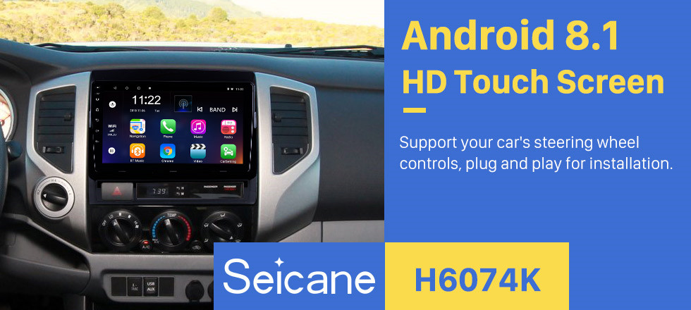 Seicane Android 8.1 GPS Navigation 9 inch Car Stereo for 2005-2013 TOYOTA TACOMA / HILUX (America Version) with HD Touchscreen Steering Wheel Control 3G Wifi USB Bluetooth music