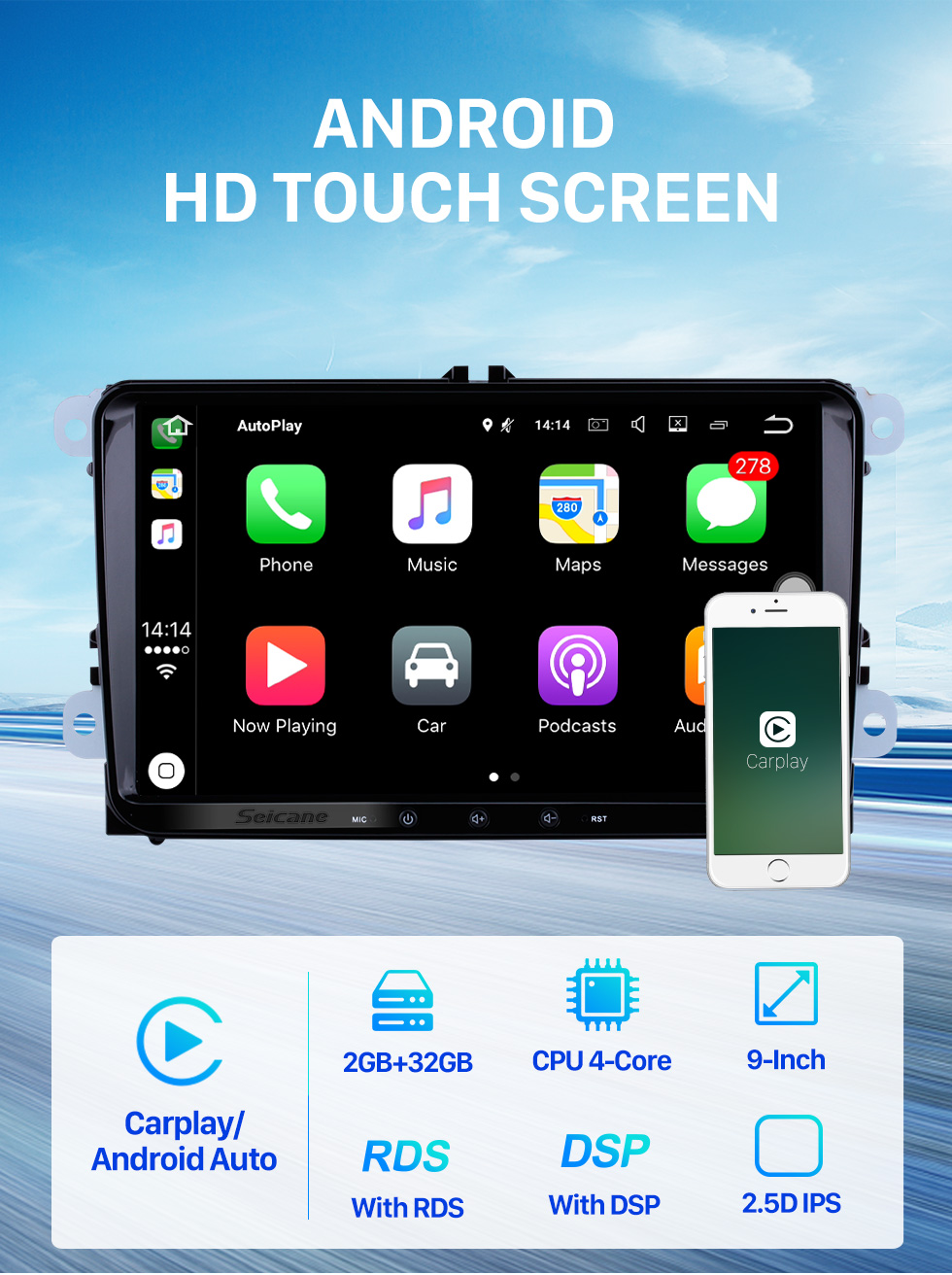 Seicane 9 inch Android 10.0 HD 1024*600 Touch Screen Radio for VW Volkswagen Universal SKODA Seat with GPS Navigation WIFI Bluetooth Music Steering Wheel Control 1080P Video