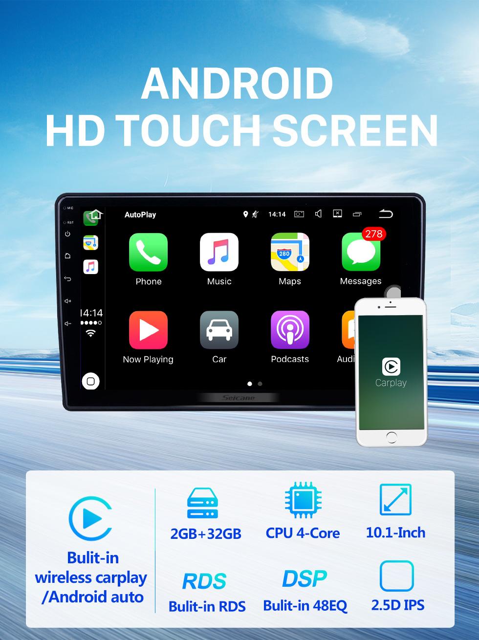 Seicane 10,1 pouces Android 10.0 Radio de navigation GPS pour 2007-2012 Chevrolet Chevrolet / Buick / GMC / Hummer / Pontiac / Saturn / Suzuki avec écran tactile HD Prise en charge Bluetooth Carplay TPMS