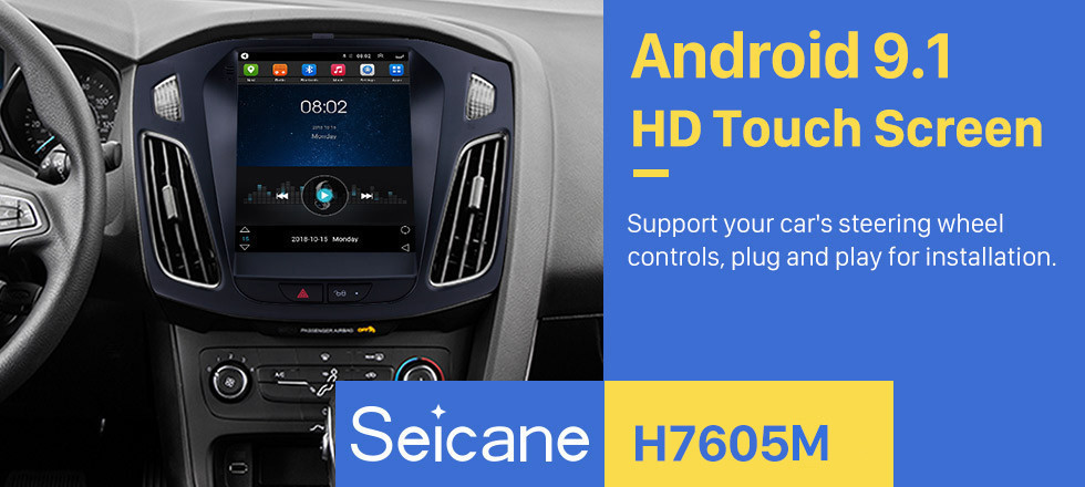 Seicane Android 9.1 2012 2013 2014 2015 Ford Focus 9.7 inch HD Touchscreen Car Stereo Radio Head Unit GPS Navigation Bluetooth Support Steering Wheel Control USB WIFI OBD2 Rearview Camera