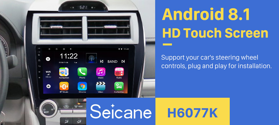 Seicane 10.1 Inch Android 8.1 HD Touchscreen Car Radio MP5 Player For 2012-2017 TOYOTA CAMRY GPS Navigation Bluetooth Phone Music WIFI Support OBD2 USB DAB+ Mirror Link Steering Wheel Control Backup Camera