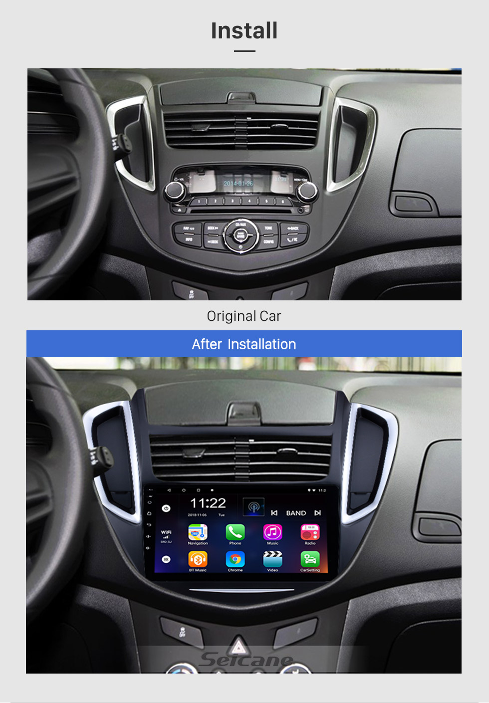 Seicane 2014-2016 Chevy Chevrolet Trax 9 Zoll HD Touchscreen Android 8.1 Bluetooth GPS-Navigationssystem Radio Unterstützung Lenkradsteuerung Rückfahrkamera 3G Wlan Spiegel-Verbindung DVR TPMS