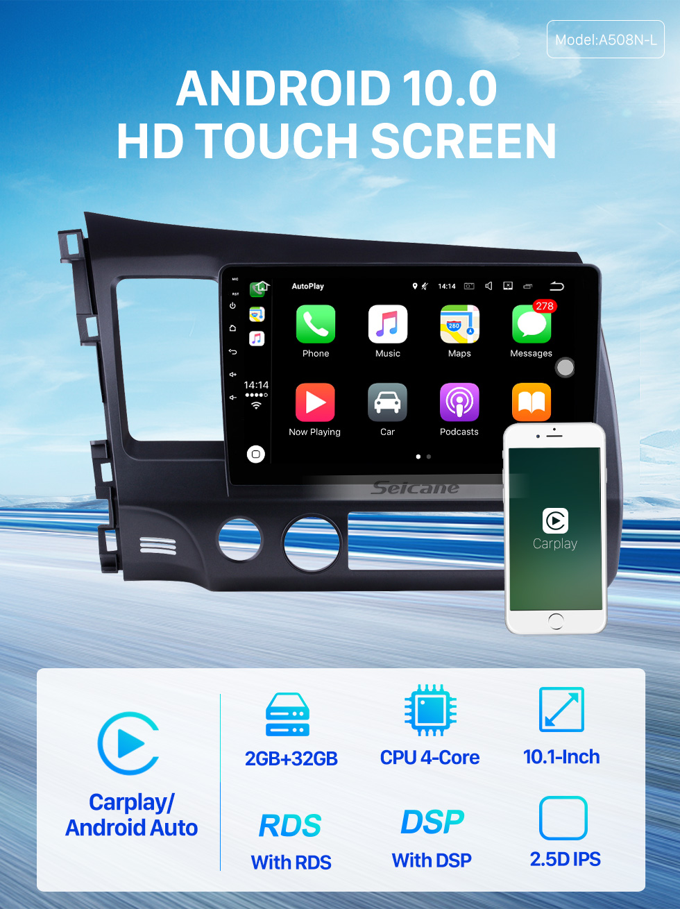 Seicane Android 10.0 Autoradio Navigation Aftermarket Stereo for 2006-2011 Honda Civic with 3G WiFi DVD Radio RDS Bluetooth OBD2 Steering Wheel Control AUX