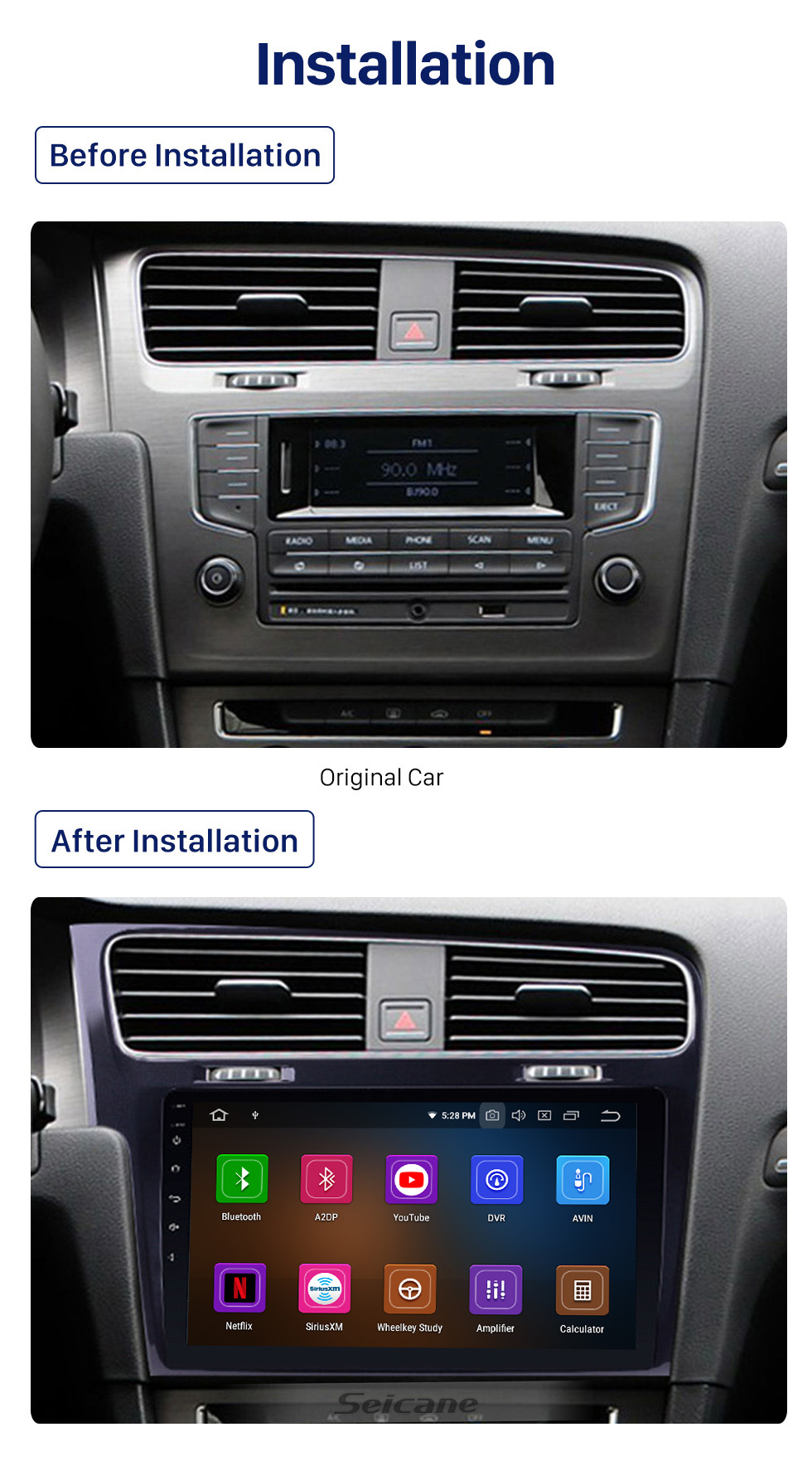 Seicane 10.1 inch For 2013 2014 2015 VW Volkswagen Golf 7 LHD Android 10.0 Radio GPS Navigation Car stereo with 1024*600 Touchscreen Mirror Link OBD2 Steering Wheel Control Rearview Camera