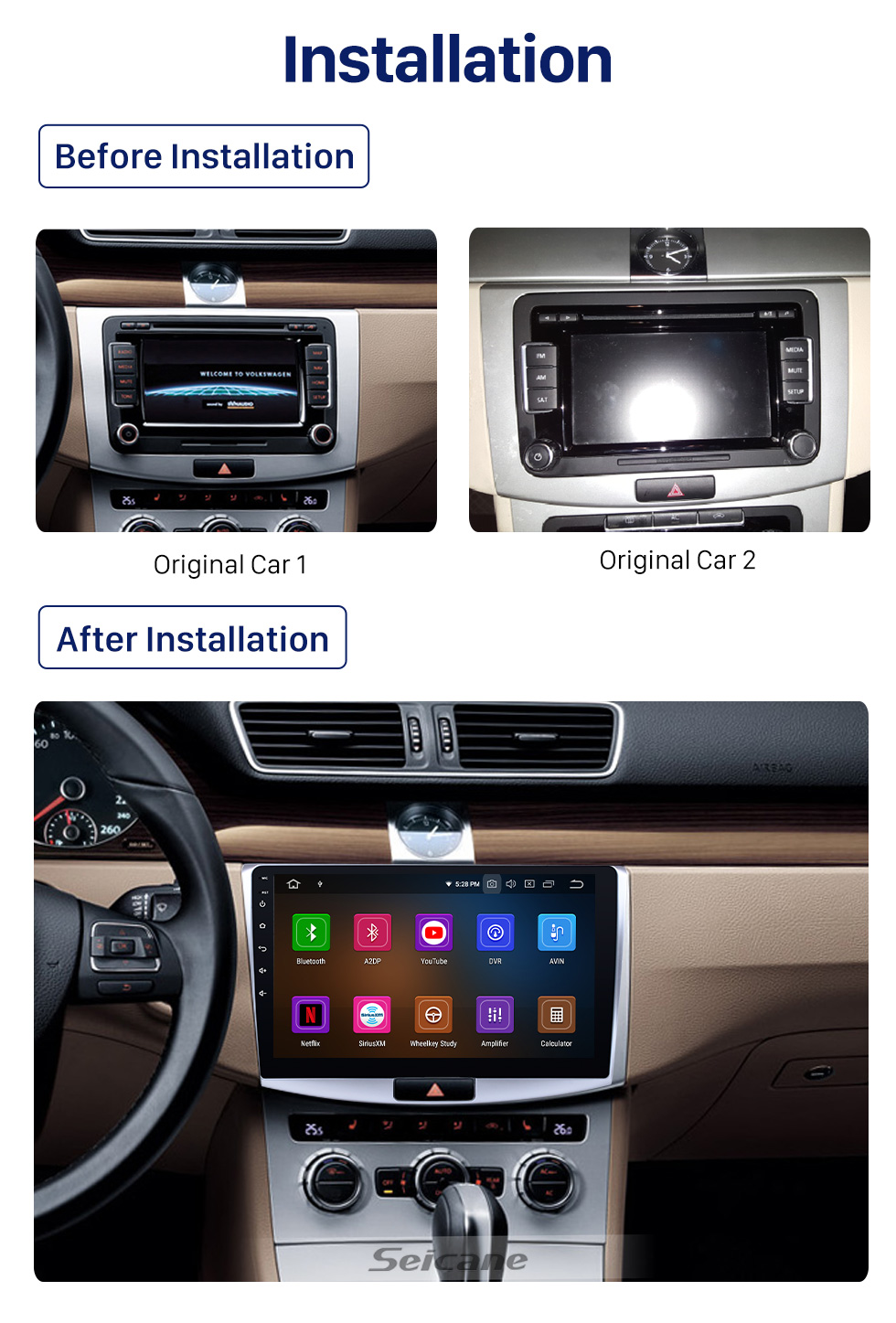 Seicane 10.1 inch Android 10.0 For 2012 2013 2014 VW Volkswagen Magotan Radio Upgrade 1024*600 Multi-touch Screen GPS Navigation Stereo CD Player SWC WiFi OBD2 Bluetooth Music