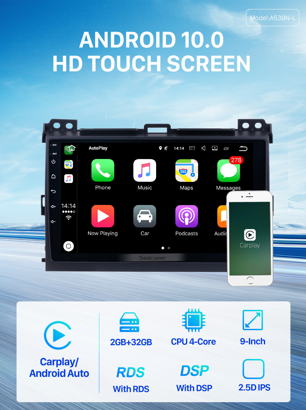 Seicane For 2002-2009 Toyota Prado Cruiser 120 Android 10.0 Autoradio DVD Navigation System with 3G WiFi Bluetooth OBD2 Rearview Camera HD 1024*600 Multi-touch Screen