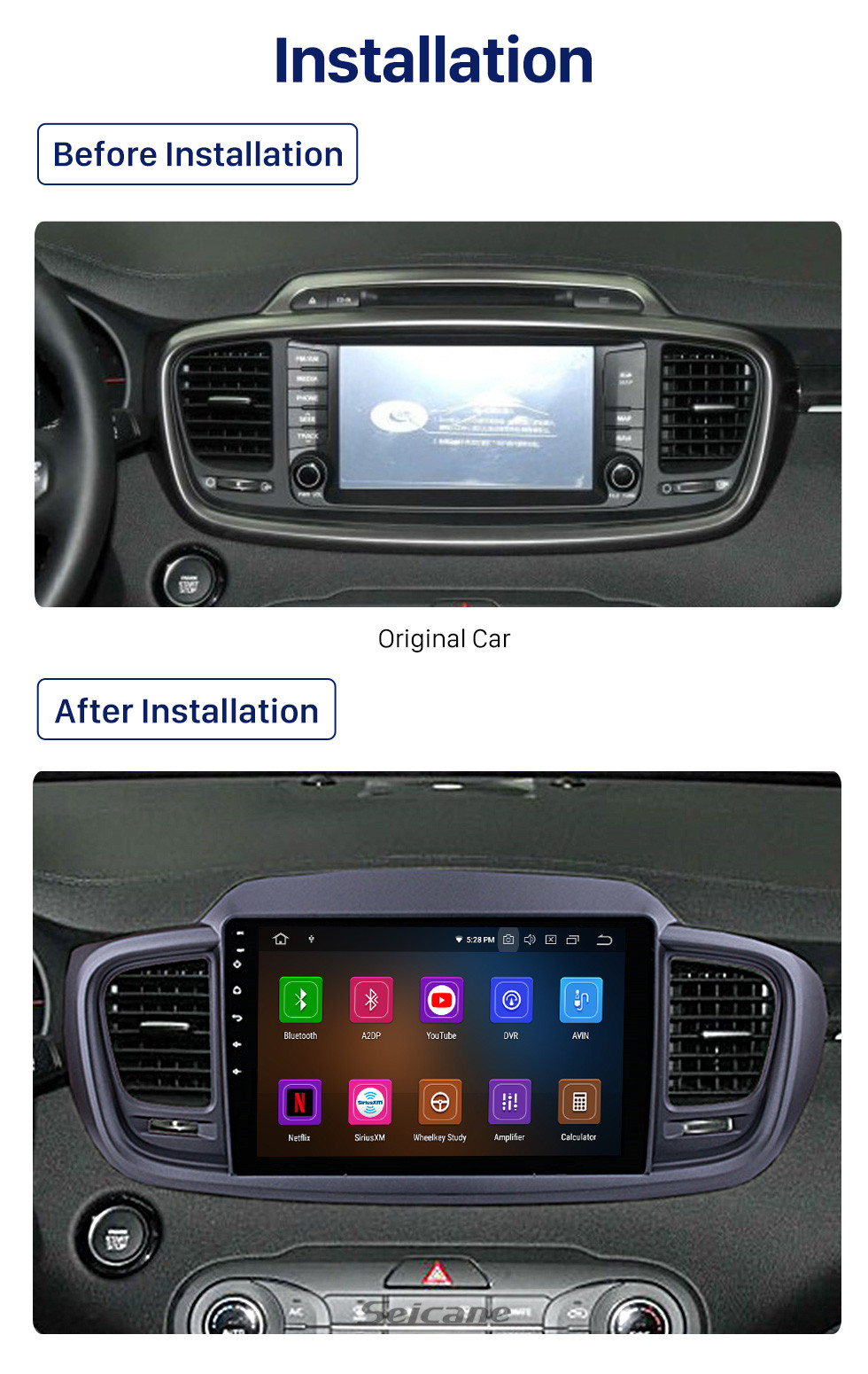 Seicane 9 inch For 2015 2016 Kia Sorento Android 10.0 Radio bluetooth GPS Navigation System with Backup Camera TPMS Steering Wheel Control OBD2 DVR Rearview camera digital TV