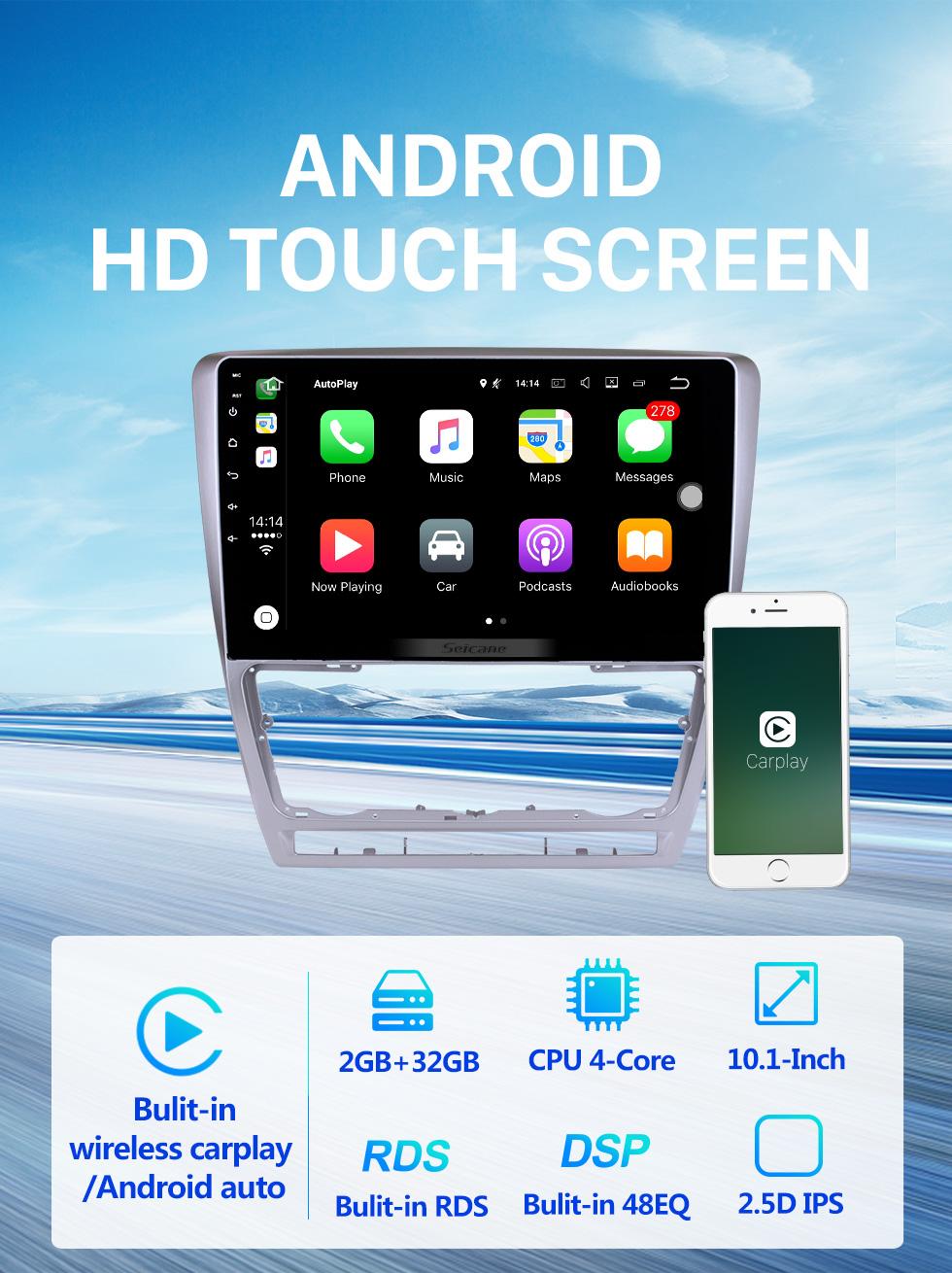 Seicane 10.1 polegada Para 2007-2012 2013 2014 Skoda Octavia Rádio Android 10.0 Sistema de Navegação GPS Bluetooth HD Touchscreen Carplay suporte OBD2