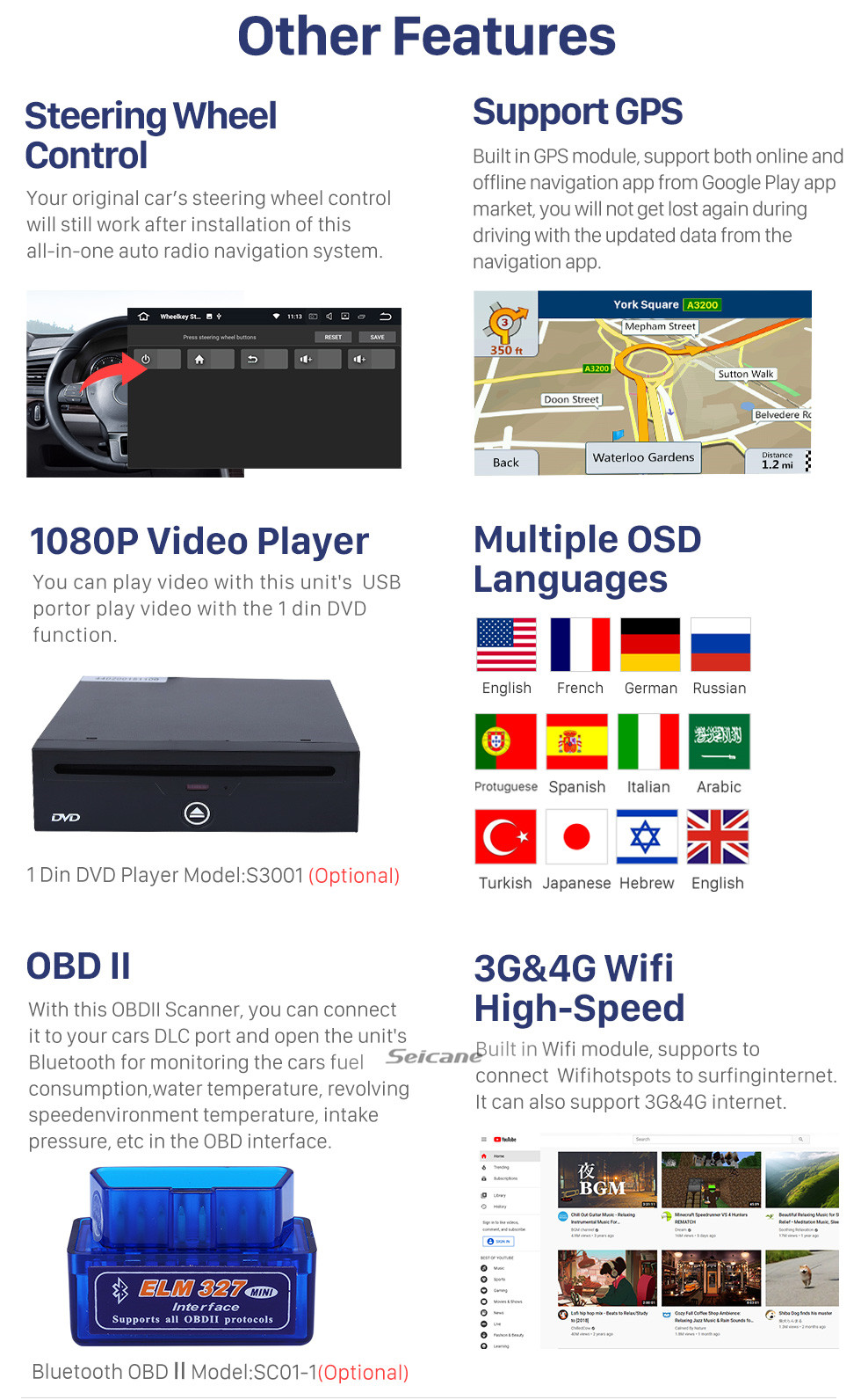 Seicane 10.1 inch 2007-2017 TOYOTA LAND CRUISER Android 10.0 HD TouchScreen Radio GPS Navigation System Bluetooth Support Car Stereo Music Mirror Link OBD2 3G/4G WiFi Video Backup Camera