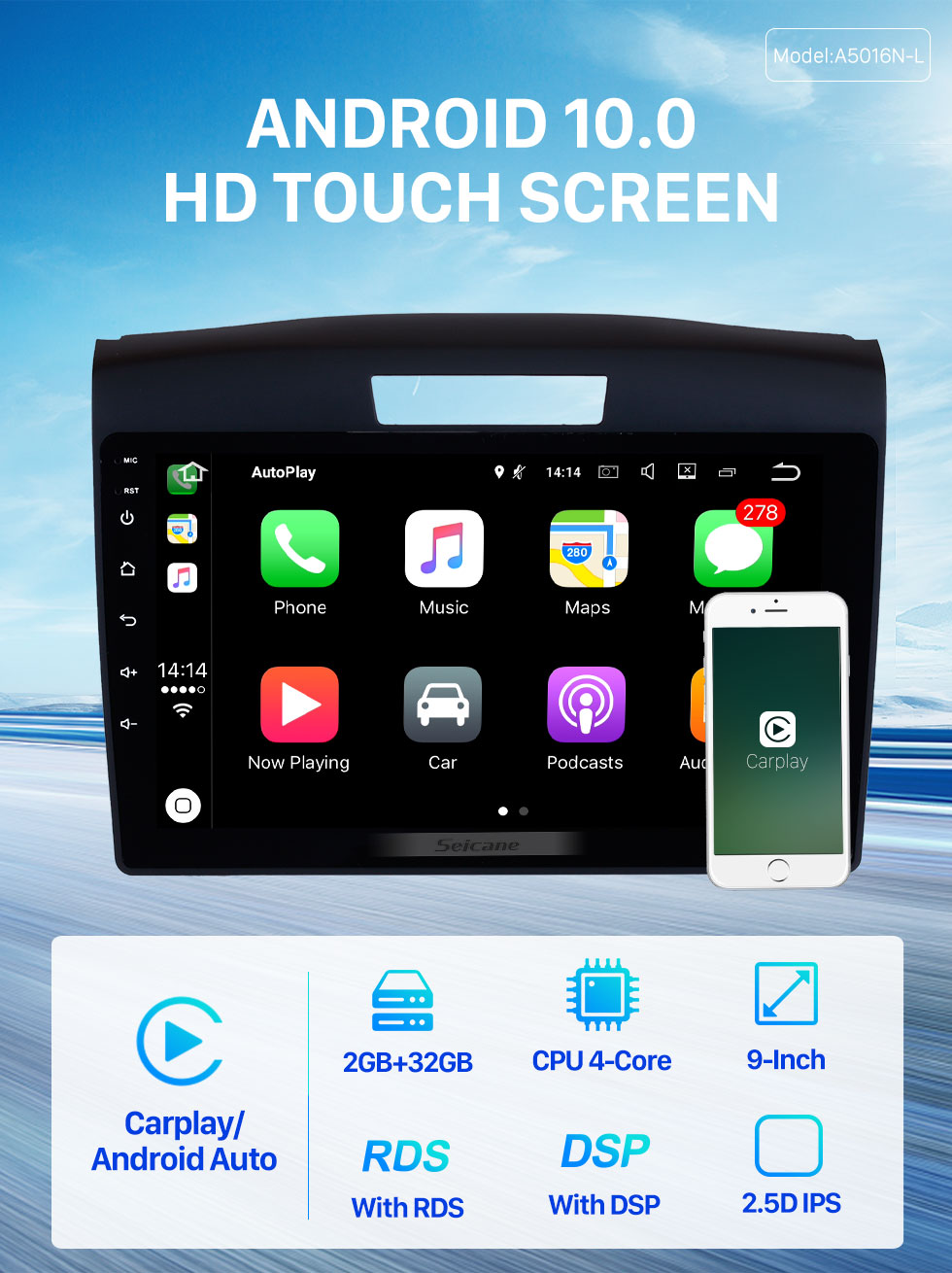Seicane 9 inch 2011 2012 2013 2014 2015 Honda CRV Android 10.0 D Touchscreen Radio GPS Navigation System Support Bluetooth 3G/4G Wifi OBD2 DAB+ Backup camera