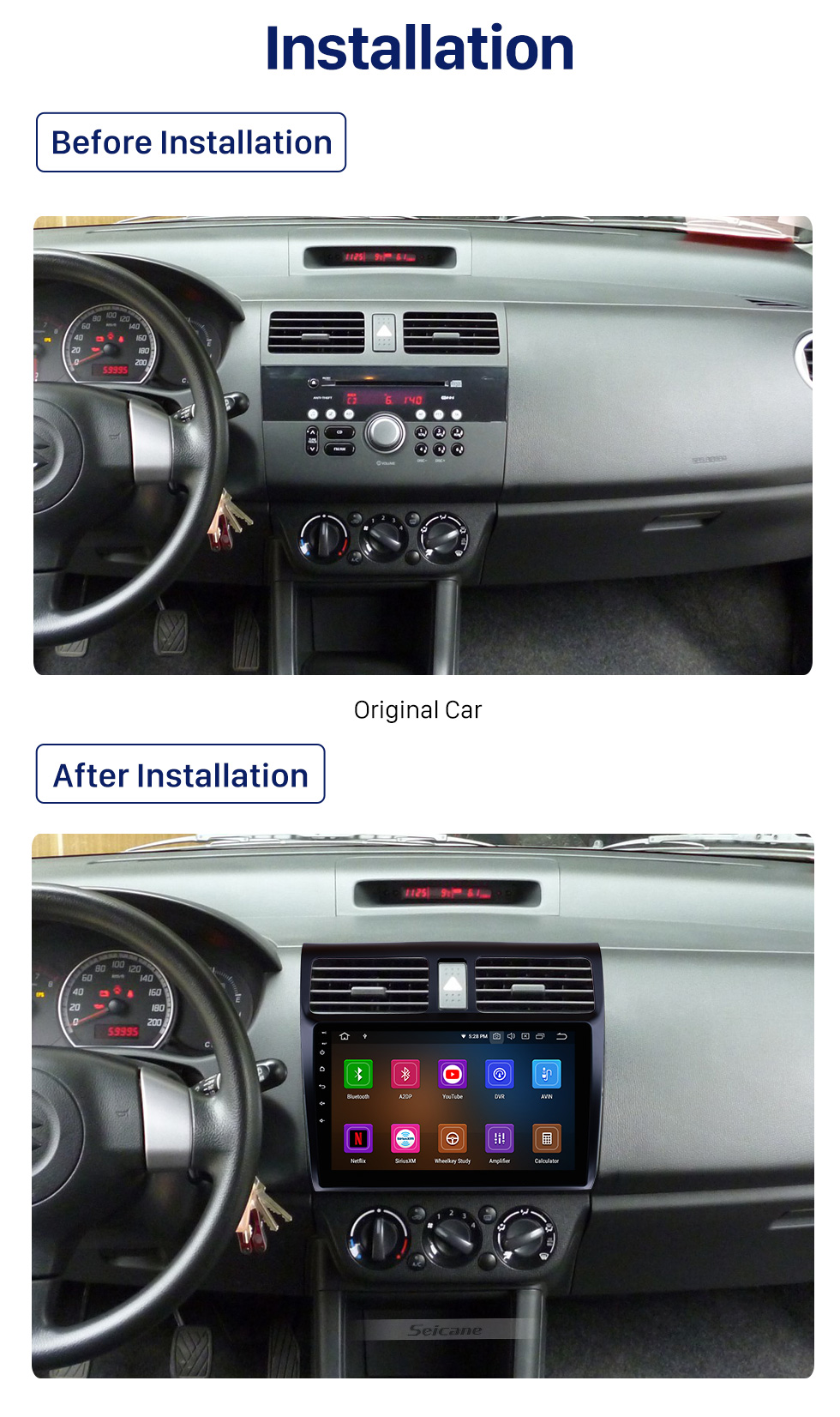 Seicane 10.1 inch Android 10.0 2005-2010 Suzuki Swift HD Touchscreen Radio GPS Navigation Bluetooth WIFI USB Aux Rearview Camera OBDII TPMS 1080P video