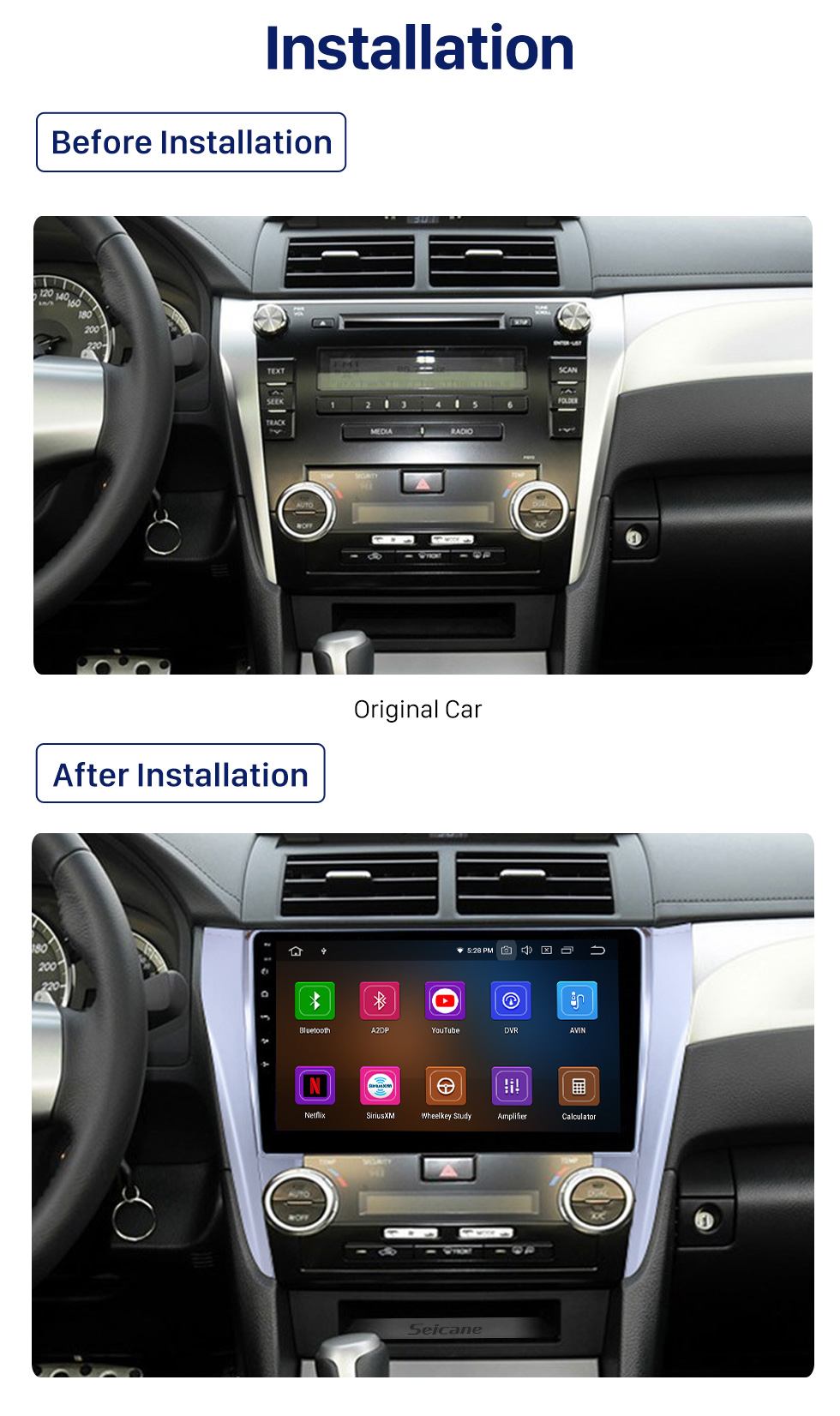 Seicane 10.1 inch Android 10.0 2012 2013 2014 2015 Toyota Camry HD Touchscreen Bluetooth GPS Navigation Radio Steering Wheel Control support DVR 3G/4G WIFI USB Carplayer DVD Player