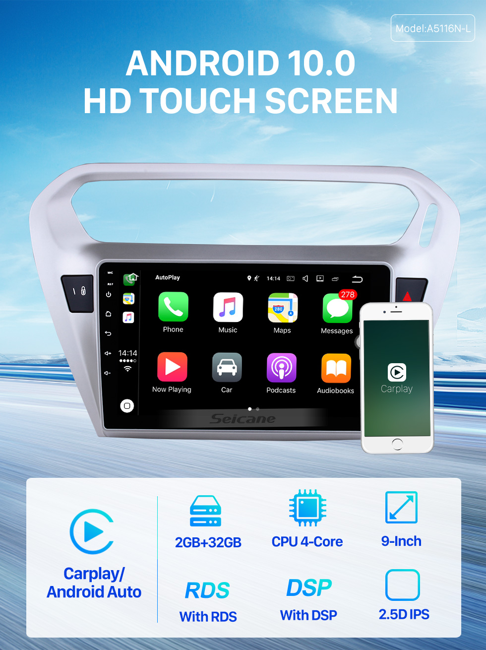 Seicane 9 inch 2013 2014 Peugeot 301 Citroen Elysee C-Elysee Android 10.0 Radio GPS HD 1024*600 Touchscreen 4G WIFI Steering Wheel OBD2 RDS Control Bluetooth