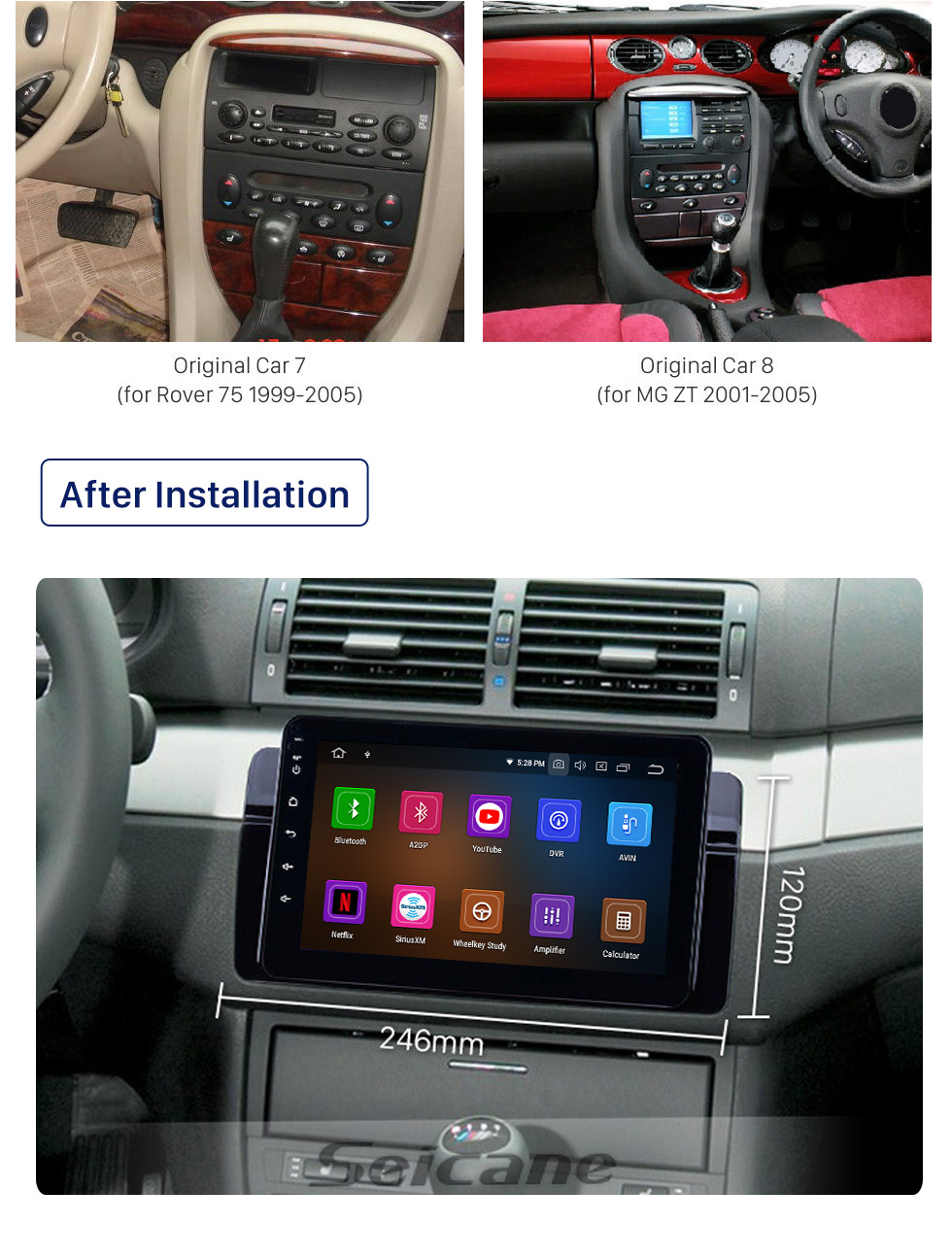 Seicane 8 inch Android 10.0 GPS Navigation Radio for 1998-2006 BMW 3 Series E46 M3 2001-2004 MG ZT 1999-2004 Rover 75 with HD Touchscreen Carplay Bluetooth support SWC DVR