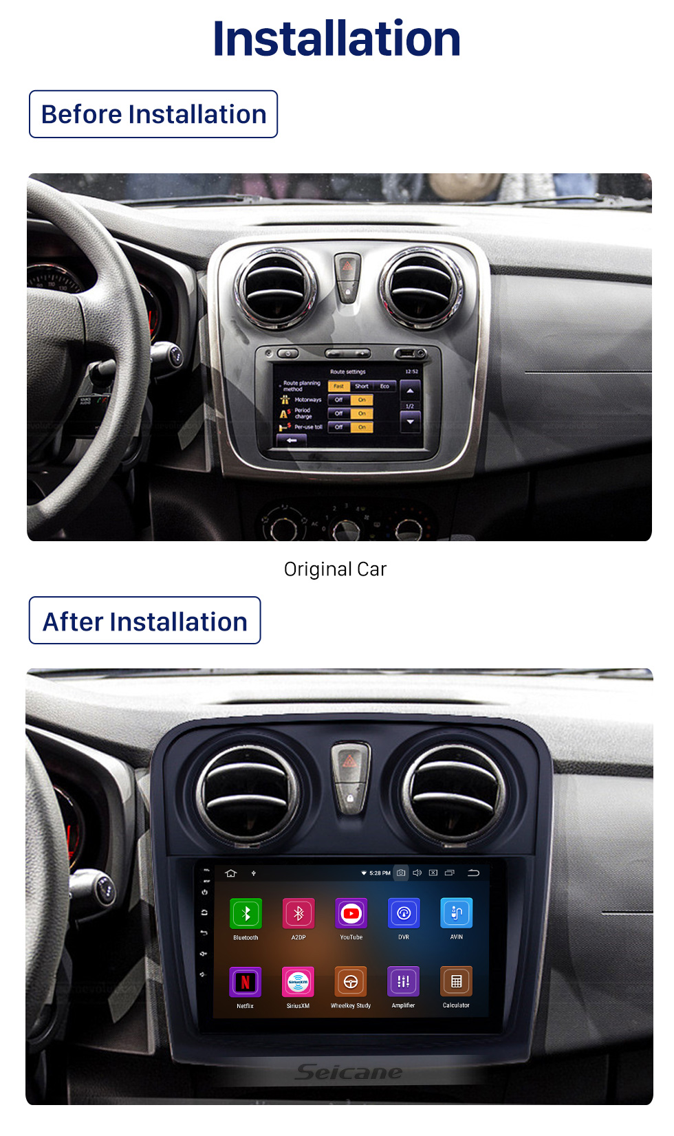 Seicane 2012-2017 Renault Dacia Sandero Android 10.0 9-Zoll-GPS-Navigationsradio Bluetooth HD Touchscreen Carplay-Unterstützung TPMS 1080P