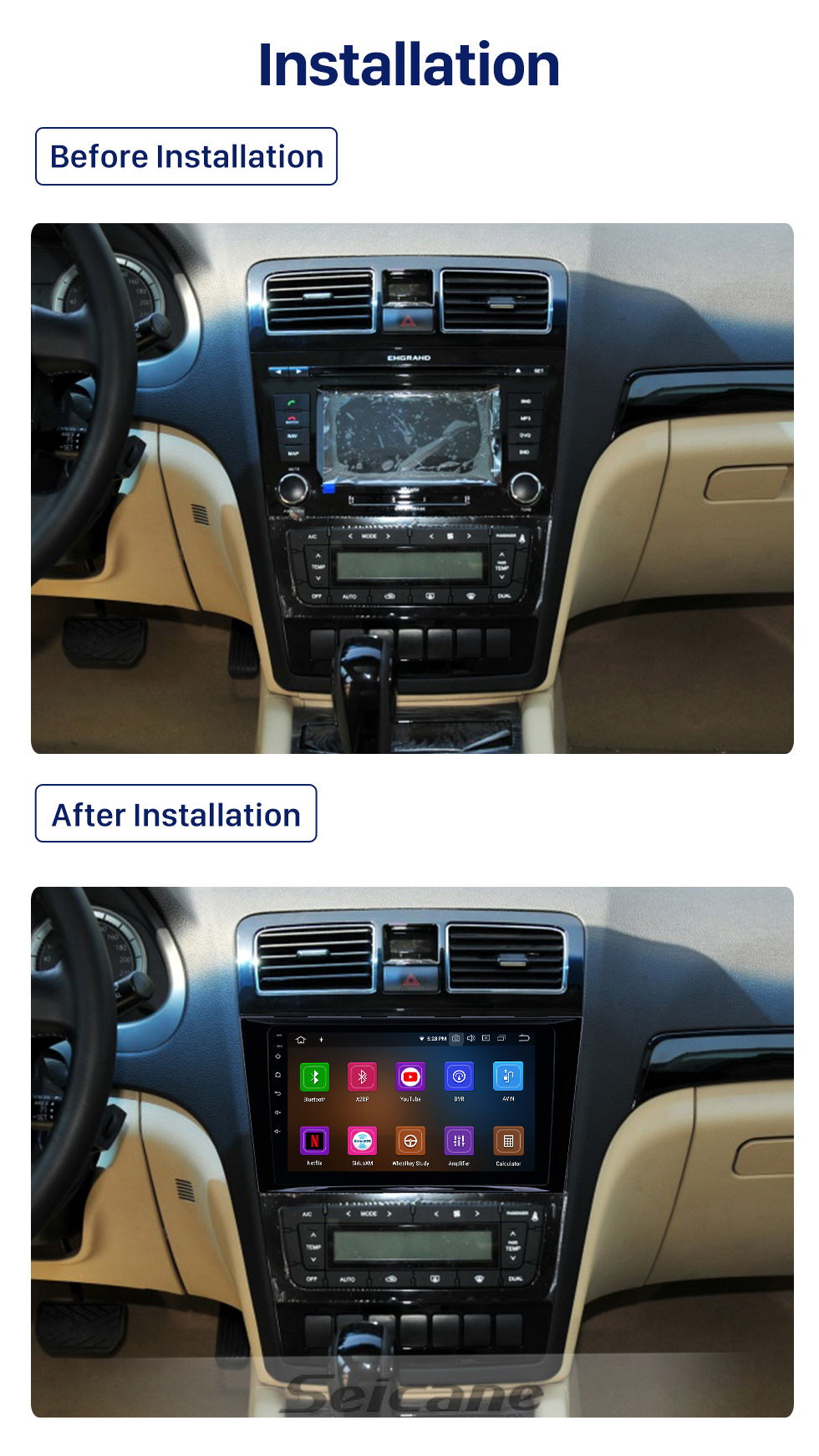 Seicane 2009-2015 Geely Emgrand EC8 Android 10.0 9 inch GPS Navigation Radio Bluetooth HD Touchscreen WIFI USB Carplay support Backup camera
