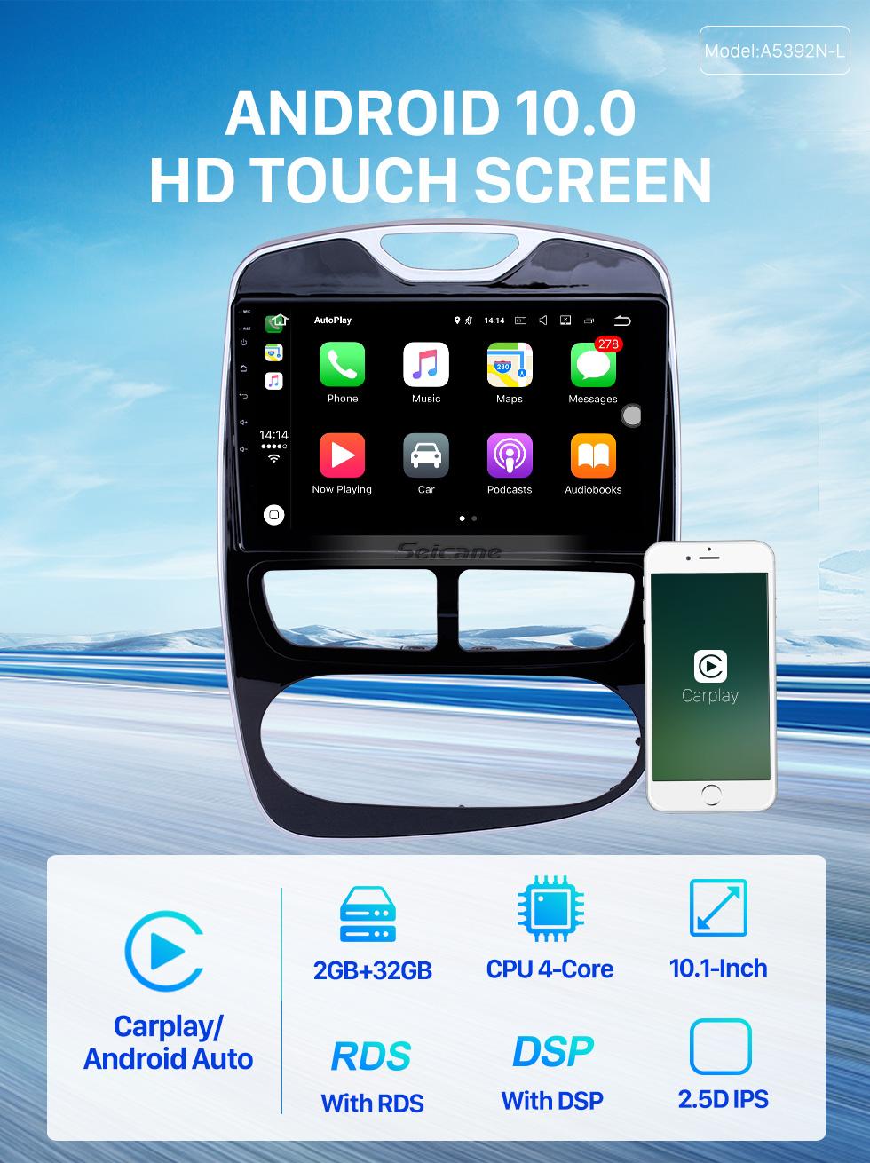 Seicane 10,1 дюйма 2012-2016 Renault Clio Цифровой / аналоговый (MT) Android 9.0 HD с сенсорным экраном Авто стерео GPS навигационная система Поддержка Bluetooth Автомобильная стереогарнитура 3G / 4G WIFI OBDII Управление видео рулевого колеса DVR