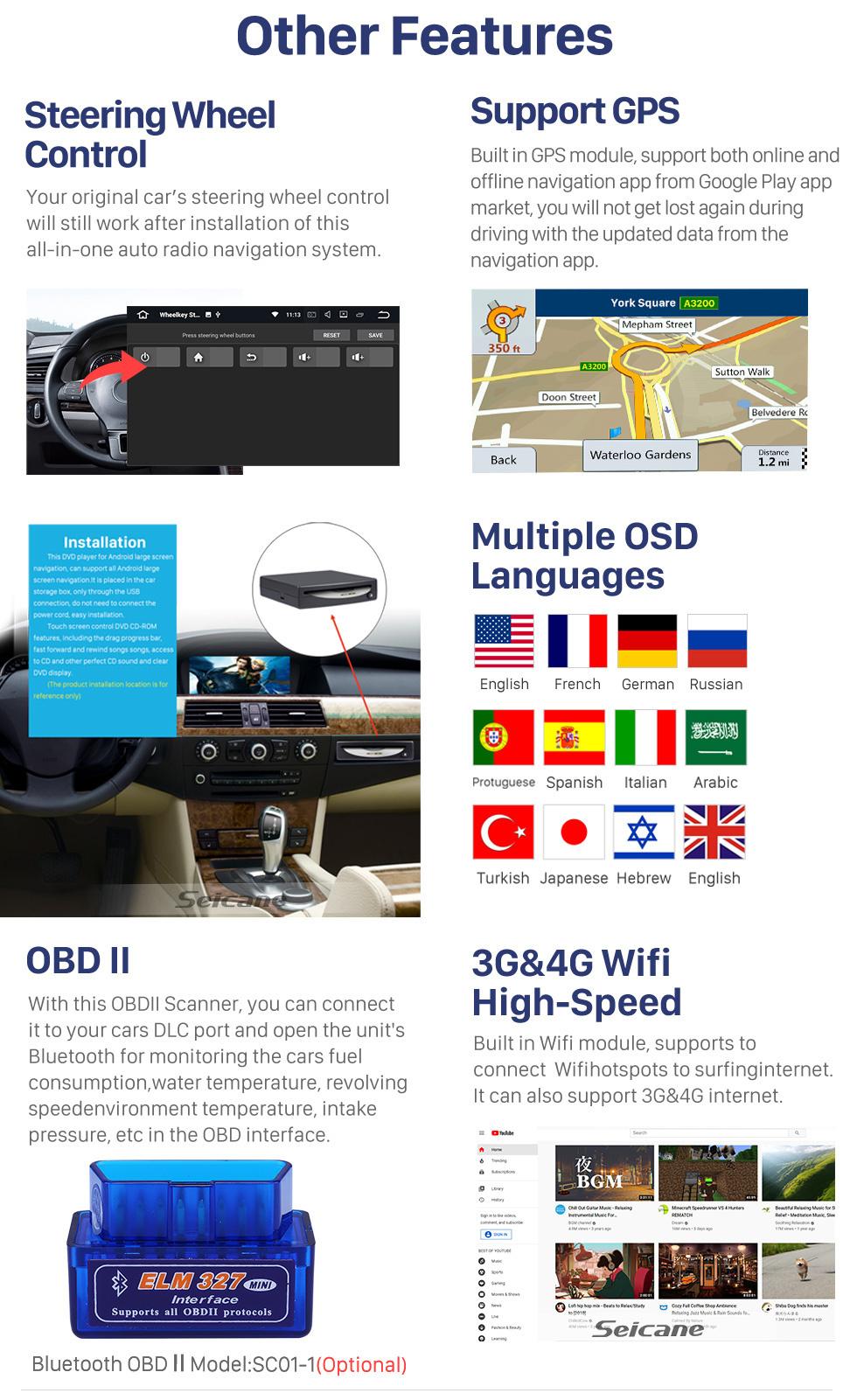 Seicane 10,1 Zoll 2019 Hyundai Veranstaltungsort RHD Android 10.0 GPS-Navigationsradio Bluetooth HD Touchscreen Carplay
