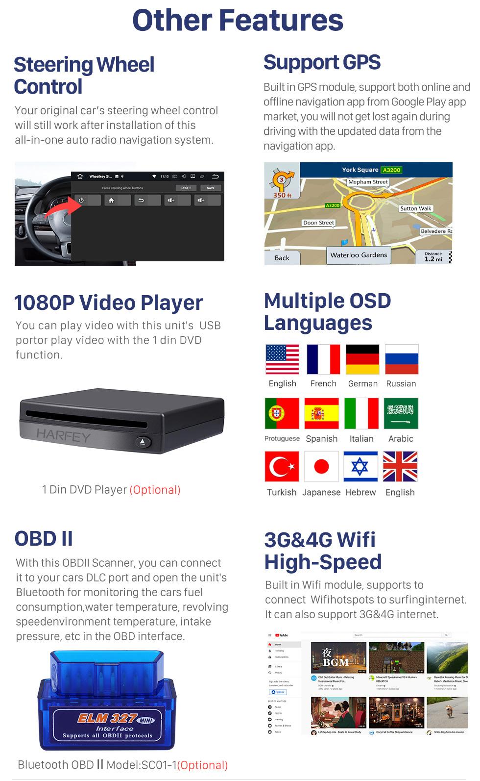 Seicane Écran tactile HD pour 2008-2014 2015 2016 Volvo XC60 Radio Android 10.0 9 pouces Navigation GPS Bluetooth WIFI Support Carplay DVR DAB +