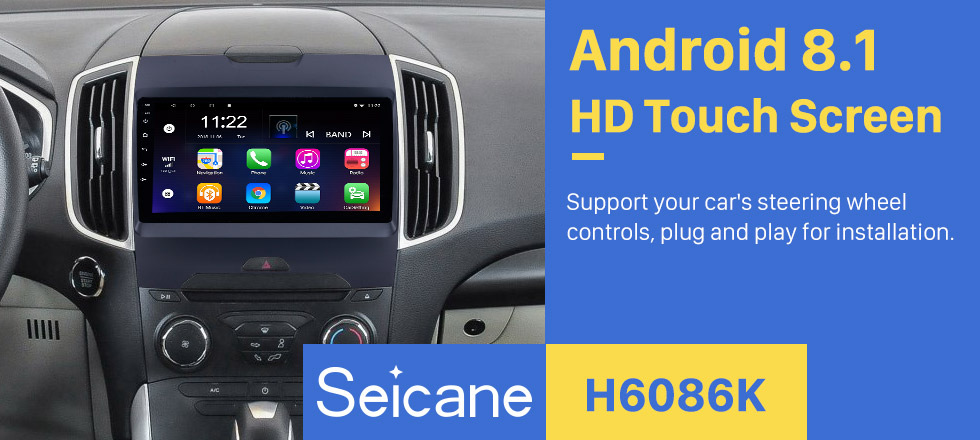 Seicane 9 inch Android 8.1 2013 2014 2015 2016 2017 Ford Edge Radio GPS Navigation System with HD Touch Screen Bluetooth 3G WIFI support Backup Camera TPMS Steering Wheel Control Mirror link OBD2 DVR