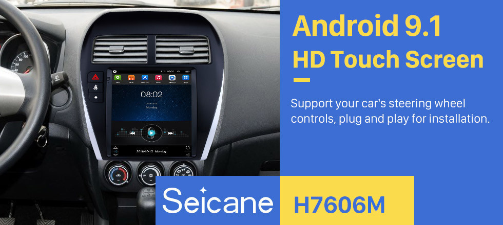Seicane 9.7 Inch 2013-2018 Mitsubishi ASX Android 9.1 Radio GPS Navigation system with 4G WiFi Touch Screen TPMS DVR OBD II Rear camera AUX Steering Wheel Control USB SD Bluetooth HD 1080P Video