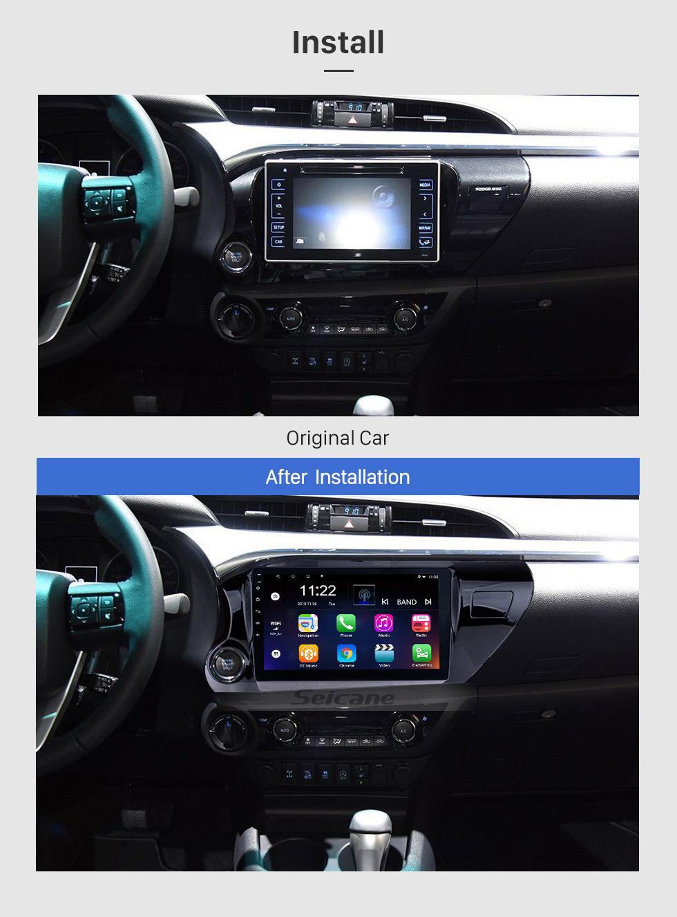 Seicane 10,1-дюймовый сенсорный экран Android 8.1 HD с радиоуправлением для 2016 2017 2018 TOYOTA HILUX Драйвер левой руки с Bluetooth GPS Navi система USB FM Поддержка управления на руле DVR Камера заднего вида OBD