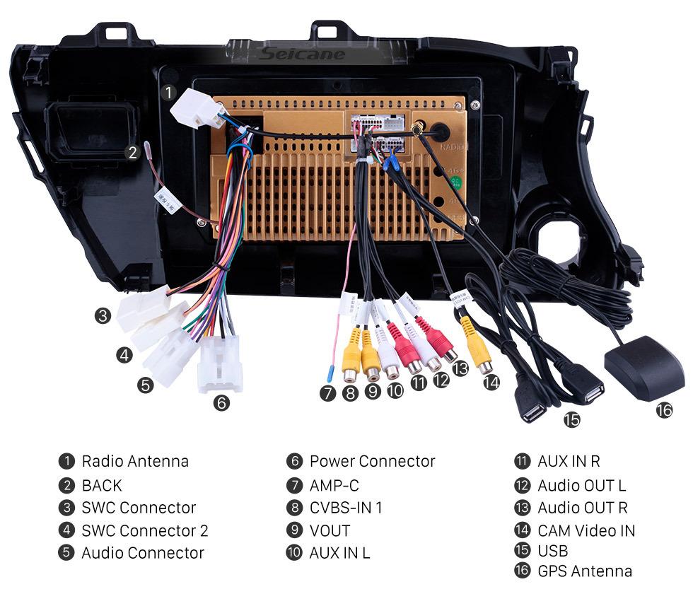 Seicane 10,1 pouces Android 8.1 HD Radio à Écran Tactile pour 2016 2017 2018 TOYOTA HILUX Conducteur à gauche avec Bluetooth GPS Système Navi USB FM Contrôle du volant soutien DVR caméra de vision arrière OBD