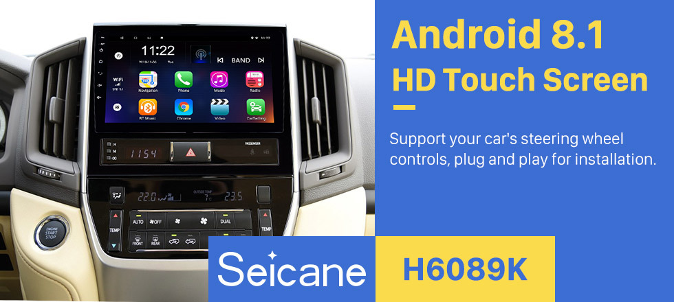 Seicane 9 Inch Android 8.1 Touch Screen radio Bluetooth GPS Navigation system For 2016 Toyota Land Cruiser 200 support TPMS DVR OBD II USB SD 3G WiFi Rear camera Steering Wheel Control HD 1080P Video AUX