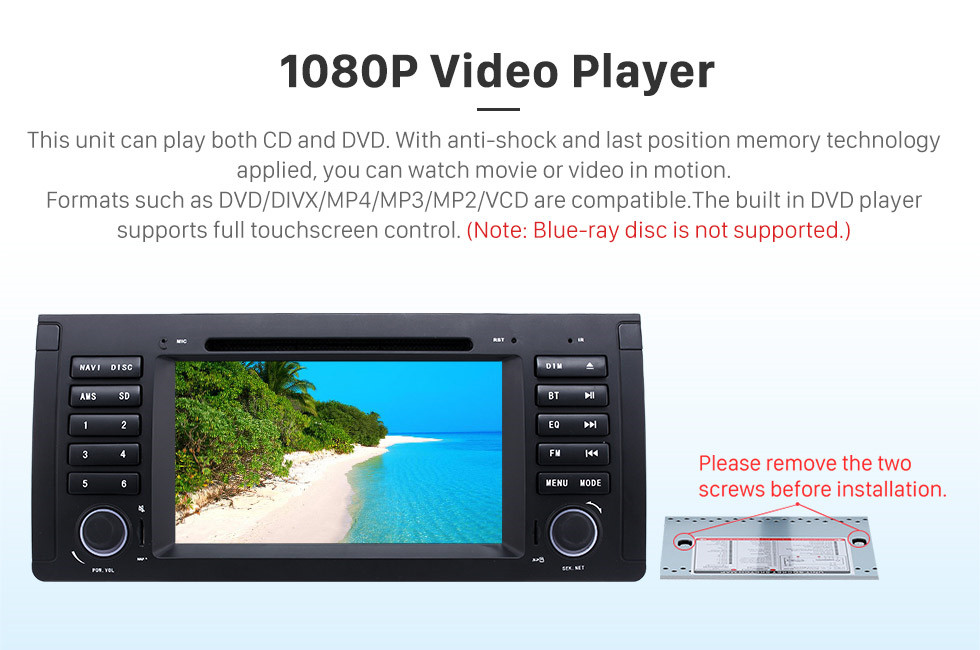 Seicane 7 inch Android 8.1 Muti-touch Screen autoradio DVD Player for 2000-2007 BMW X5 E53 3.0i 3.0d 4.4i 4.6is 4.8is 1996-2003 BMW 5 Series E39 with GPS Navigation Audio system Canbus Bluetooth WIFI Mirror Link USB 1080P DVR