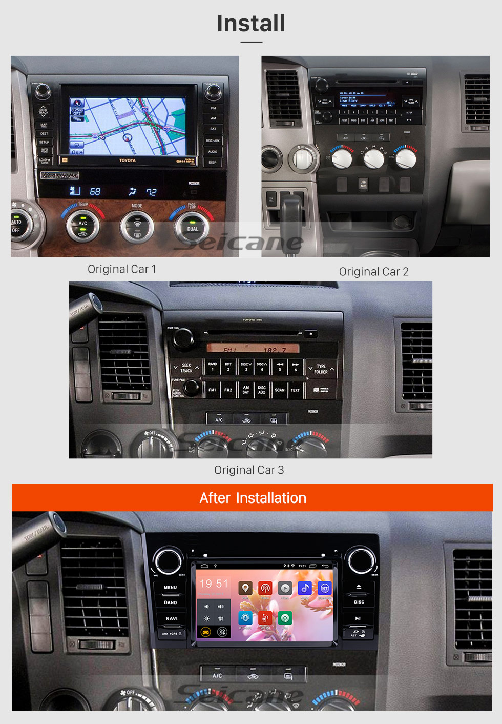 Seicane 7 inch Android 8.1 Touchscreen GPS Navigation Radio for 2008-2015 Toyota Sequoia/2006-2013 Tundra with Bluetooth WIFI support Carplay SWC TPMS